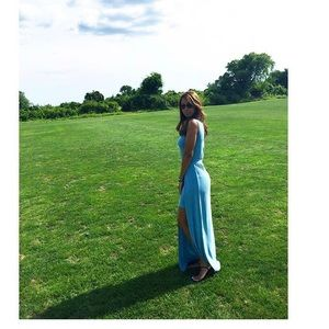 Sleeveless BCBG maxi dress with slit